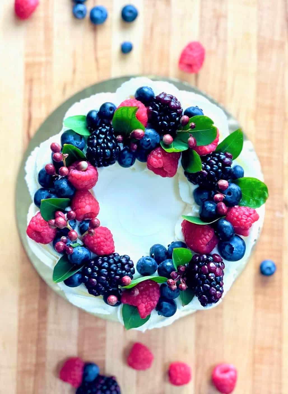 Vanilla Almond Cake Berries 'n' Cream