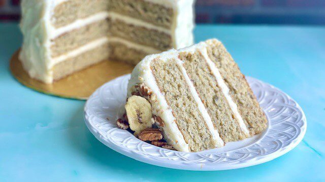 Old Fashioned Banana Cake Slice with cream cheese buttercream