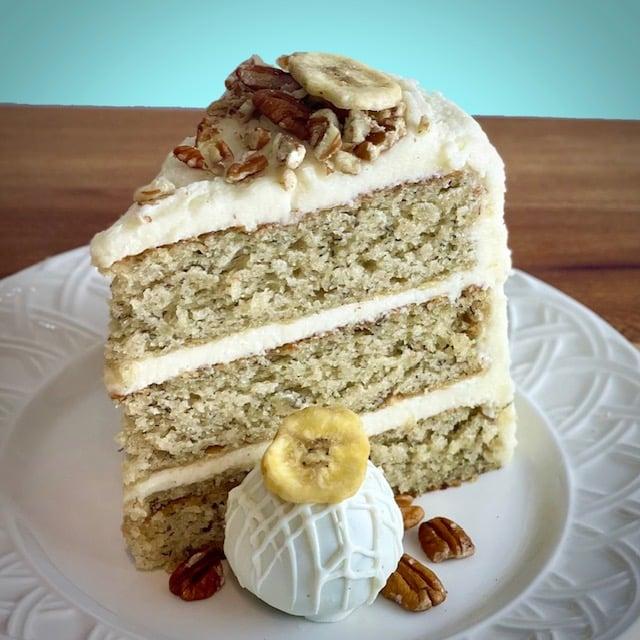 Old Fashioned Banana cake slice