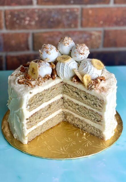 homestyle banana cake decorated with cake truffles