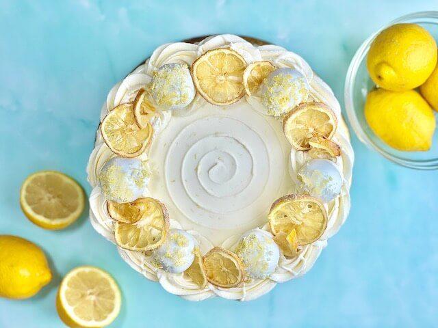 Lemon Cake decorated with lemon truffles and sugared lemons