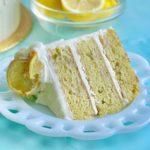 Fresh Lemon Cake slice with lemon glaze