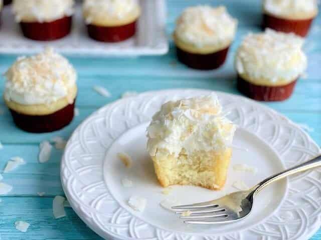 Partially Eaten Coconut Cream Cupcake